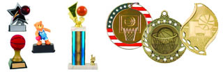 Basletball trophies and medals