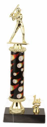 Female Softball Trophy - Black Marble Base - Flame Column