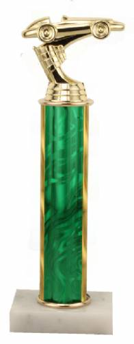 Racing Trophy - Asian Marble Base - Lava Flow - Green - Choose Your Size