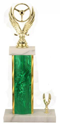 Racing Trophy - Asian Marble Base - Lava Flow - Green/Gold