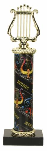Deluxe Music Lyre Trophy - Marble Base - Music Column