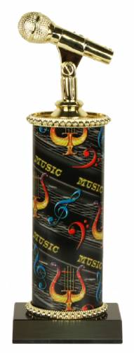 Deluxe Singing Microphone Trophy - Marble Base - Music Column