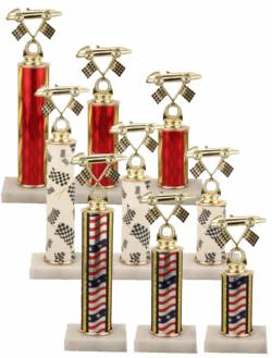 Racing Trophy Set of 3 - Pinewood Derby - Pinecar - Choose your Column Color