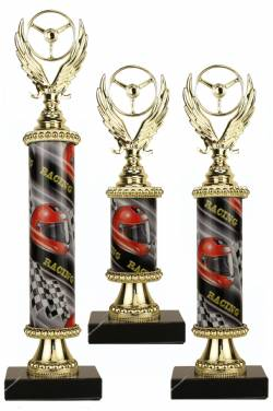 Racing Trophy Set of 3 Deluxe - Pinewood Derby - Pinecar - Choose your Column Color