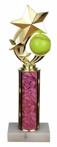Spinner Softball Trophy - Marble Base - Pink Column