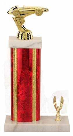 Racing Trophy - Asian Marble Base - Star Blast - Red/Gold