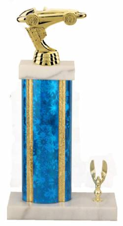 Racing Trophy - Asian Marble Base - Star Blast - Blue/Gold
