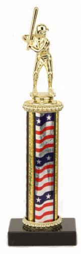 Female Softball Trophy - Black Marble Base - USA Flag Column