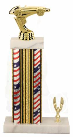 Racing Trophy - Asian Marble Base - US Flag - Gold