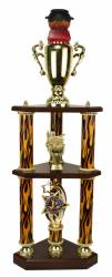 3 Post 2 Tier BBQ Best Chili Cook-Off Trophy - 32.5""