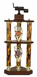 3 Post 2 Tier BBQ Smoker Cook-Off Trophy - 27""
