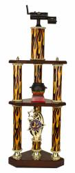 3 Post 2 Tier BBQ Smoker Chili Cook-Off Trophy - 31.5""
