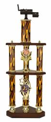 3 Post 2 Tier BBQ Smoker Cook-Off Trophy - 31.5""