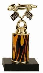 Racing Trophy - Black Marble Base - Derby Car with Flags - Choose Column - 7.0""