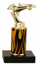 Racing Trophy - Black Marble Base - Derby Car - Choose Column - 7.0""