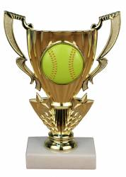 "8"" Softball Trophy Cup Figure - Marble Base - Domed Softball Insert"